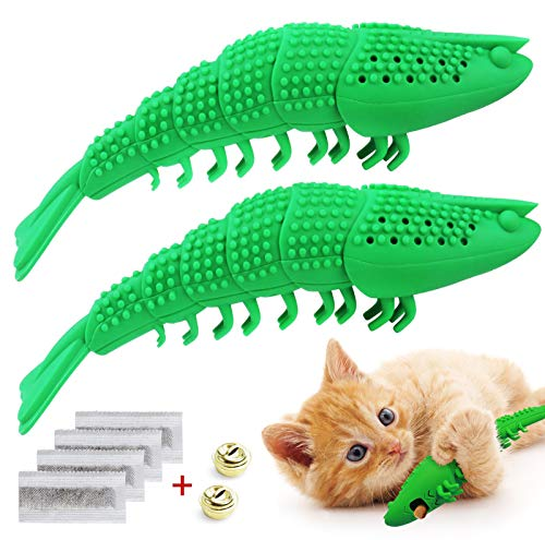 Idepet 2 st interaktiva kattleksaker kattunge kattmynta tandborste tuggleksak 100 % naturligt gummi bitmotstånd hummerform leksaker för tandrengöring tandvård
