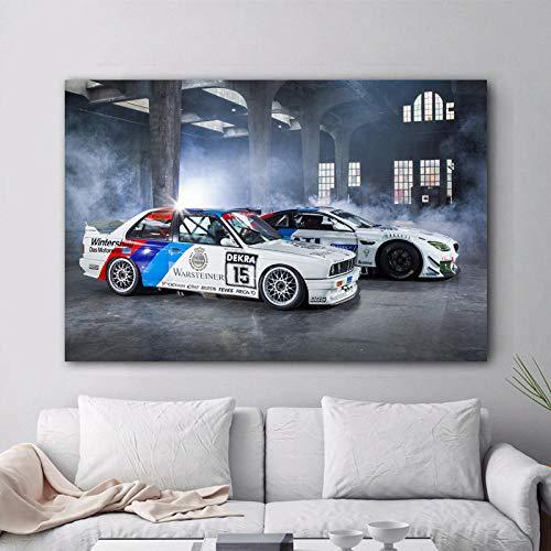 woplmh Moderne Wandkunst Leinwand Gemälde Supercars BMW Tuning M6 E30 Rennwagen Bild Poster und Drucke für Wohnzimmer Dekor / 60x90cm-kein Rahmen