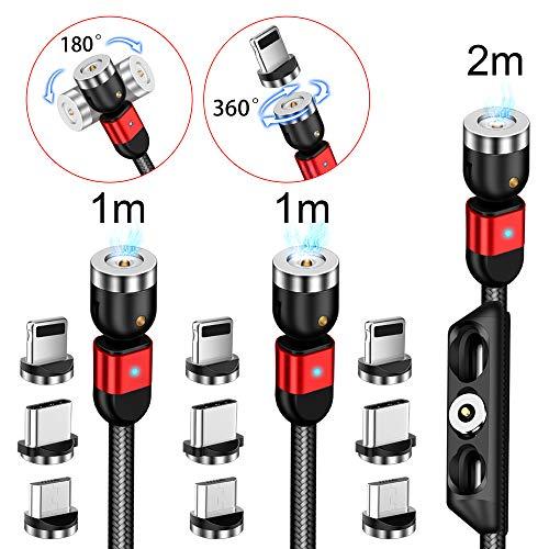 AMZLIFE Magnetisches Ladekabel[3Stück 1m+1m+2m]3 in 1 Magnet USB kabel,360°&180°Rotierendes Ladekabel 2.4A Nylon Geflochtenes Drehmagnetkabel für i-Produkt/Micro USB/Type C/Samsung/Huawei/Xiaomi/Mehr