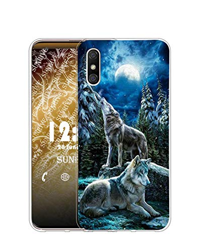 Sunrive Kompatibel mit DOOGEE X53 Hülle Silikon, Transparent Handyhülle Schutzhülle Etui Hülle (Q Wolf 1)+Gratis Universal Eingabestift MEHRWEG