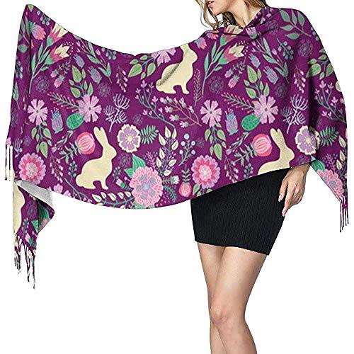 Bufanda chal envuelve bufanda de cachemira conejitos de Pascua primavera floral frambuesa vino bufanda grande súper suave cálido para mujeres