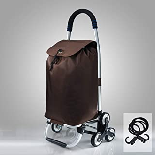 Folding Shopping Trolley 3 Wheels Stair Climbing Cart with Folding Design with Removable Waterproof Oxford Cloth Bag (Color : Brown)