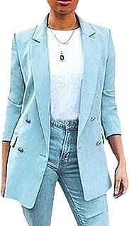 Women's Slim Plain Long Sleeve Blazer Jacket Work Office Blazer