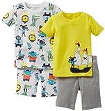 Carter's Schlafanzug Größe 80 kurz 2X Pajama 4 teilig (18 Monate) Junge Hund Löwe gelb