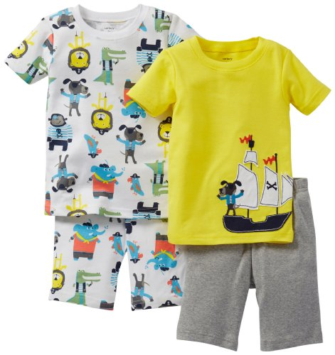 Carter's Schlafanzug 74/80 kurz 2 x Pajama 4 teilig Pajama kurz Sommer US Size 12 Month Pyjama Nachtwäsche Baby (12 Monate, gelb)