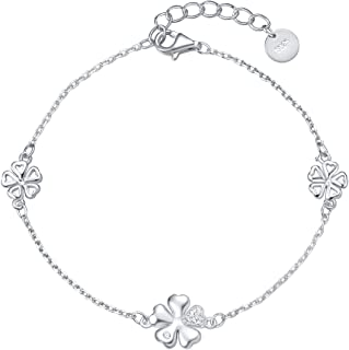 Fancime 925 Sterling Silver Butterfly/Four Leave Clover Bracelet Link Charming Dainty Jewelry For Women Girls 7.6""