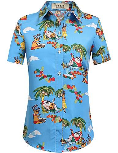 SSLR Women's Holiday Santa Claus Casual Ugly Hawaiian Christmas Shirts (Small, Blue Red)