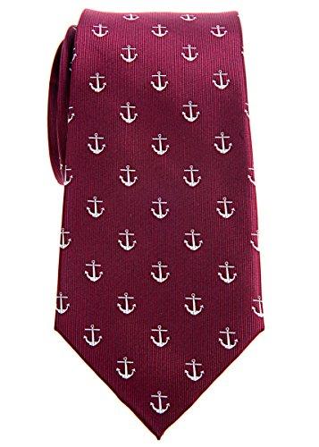 Retreez Klassische Krawatte mit Ankermuster, gewebte Mikrofaser, 8cm, in verschiedenen Farben Gr. onesize, burgunderfarben
