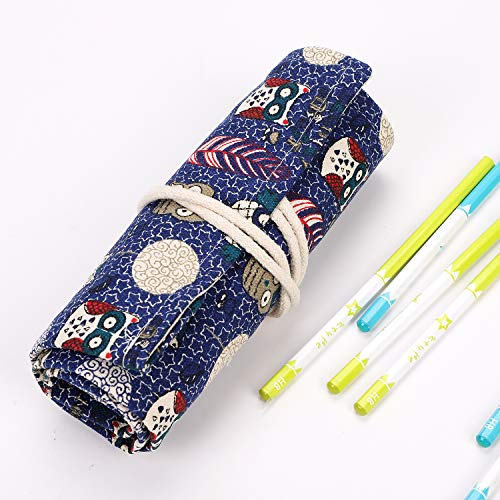 Estuche portátil para lápices de lona con 48 agujeros, bolsa de lápices de colores multiusos, funda de cepillo escolar, bolsillo de almacenamiento para bolígrafos, suministros de educación artista