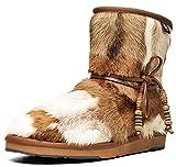 Botas de nieve para mujer, de Aumu, de piel de oveja, con cuentas de madera tradicional, elegantes rodillas, Blanco (Castaño 1), 37 EU