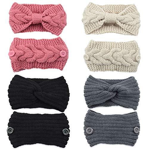 4 Packs Women Winter Ear Warmer Headbands Thermal Chunky Knitted Headband with Button Soft Crochet Braided Hairband Elastic Twist Bowknot Turban Head Wrap for Women Girls