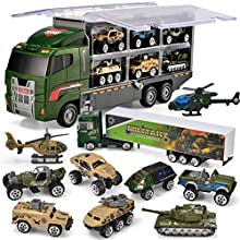 JOYIN 10 in 1 Die-cast Military Truck Army Vehicle Mini Battle Car Toy Set in Carrier Truck