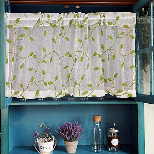 WINYY Green Leaf Short Curtain Valance for Cabinet Kitchen Window Decorative Embroidery Sheer Voile Curtain 1 Piece (39 Inch Wide, 20 Inch Long)
