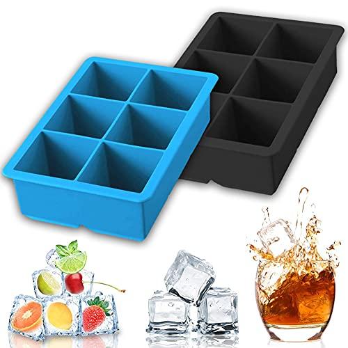 JAHEMU Bandeja de Hielo de Silicona Moldes de Hielo de Silicona Cuadrado Molde de Chocolate ice Cube Tray para Alimentos para Bebés, Cola, Cócteles, Whisky - 2 Piezas