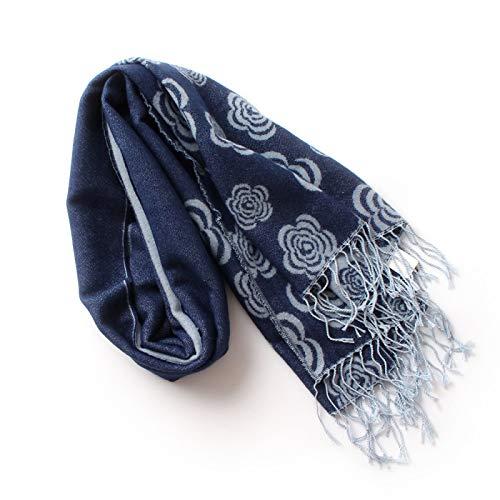 BAONUANM Schal,Kamelien Floral Imitiert Kaschmir Pashmina Schals Mit Quaste Frauen Winter Dick Warme Acryl Decke Schal Dame Schal Wraps