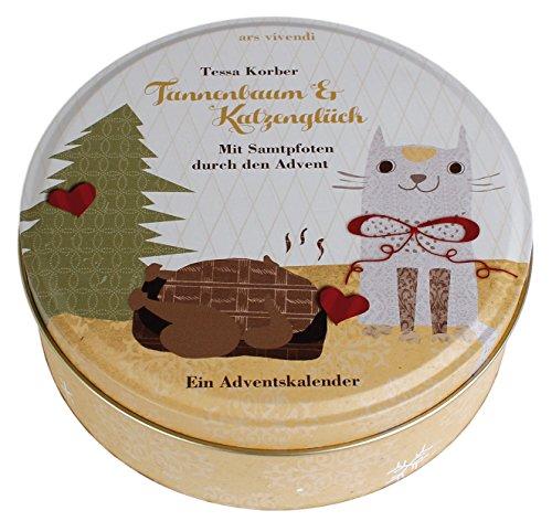 Adventskalender: Tannenbaum und Katzenglück: Mit Samtpfoten durch den Advent - Adventskalender mit Katzengeschichte in Blechdose mit 24 Karten zum Aufhängen