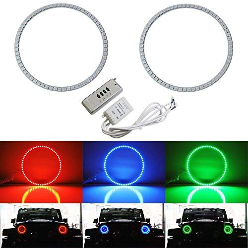 iJDMTOY 132-LED RGB Multi-Color LED Angel Eyes Halo Rings Compatible With Jeep Wrangler JK (Also fit any car with 7-Inch headlights)