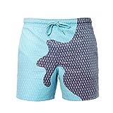 Ouduo Cambia Colore Spiaggia Pantaloncini Uomini, Estate Asciugatura Rapida Pantaloncini Nuoto Costume da Bagno per Sport, Spiaggia, Nuoto Festa (Argyle Blu,M)