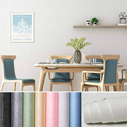 KINLO Selbstklebend Tapete wasserfest Wandtapete mit Seidenfaden Muster 61 x 500cm Wandaufkleber Klebefolie für Wohnzimmer TV Hintergrund Wand (Weiß-grau)