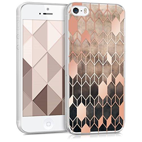 kwmobile Hülle kompatibel mit Apple iPhone SE (1.Gen 2016) / 5 / 5S - Handyhülle - Handy Case Glory Hellbraun Rosegold