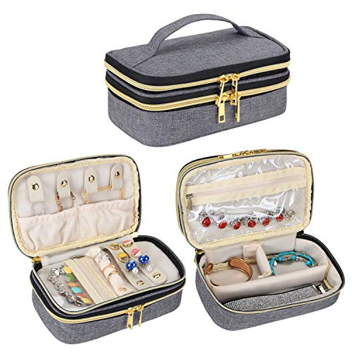Teamoy Travel Jewelry Organizer Case, Double Layer Jewelry Organizer for Women Rings, Necklaces, Earrings, Bracelets and Accesories, Gray
