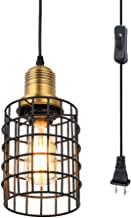 Pauwer Industrial Metal Wire Cage Pendant Light Plug in Ceiling Hanging Light Fixtures Vintage Edison Swag Light with On Off Switch Cord (Black)
