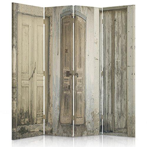 Feeby Frames Biombo impreso sobre lona, tabique decorativo para habitaciones, a doble cara, de 4 piezas (145x180 cm), PUERTA, EDIFICIO, RÚSTICO, MARRÓN