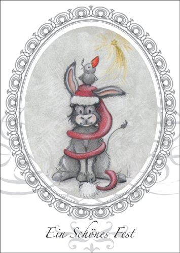 Schöne Weihnachtskarte - der Weihnachts Esel unterm Stern von Bethlehem: Ein schönes Fest • auch direkt Versand mit ihrem Text Einleger • als Weihnachtsgruß, Gutschein, Geschenkkarte zu Neujahr