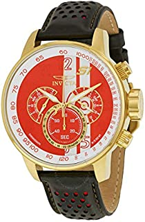 ساعة انفيكتا للرجال بمينا لون احمر و سوار من الجلد - IN-19907