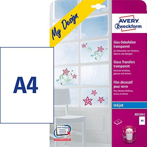 AVERY Zweckform MD3002 Glas- und Fensterfolie (210x297 mm auf DIN A4, selbstklebend, bedruckbare Dekofolie für Glasflächen, Inkjet-/Tintenstrahldrucker) 4 Transferfolien transparent