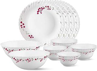 Larah by Borosil Fluted Verona Dinner Set, 14-Pieces, White