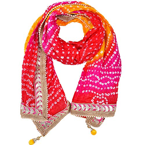 PK HUB®Jaipuri Rajasthani Women Silk Bandhani Bandhej Single-Colored Heavy Dupatta with Gota Work and latkan