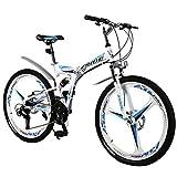 Unbekannt Mountainbike 30 Geschwindigkeit Mountainbike 24In ~ 26-Zoll-Full-Suspension Faltrad, Weiß Blau,26in