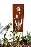 Gartenstecker Willkommen Blume Steckzaun 125cm Höhe Rankhilfe Rankgitter Gartendeko Metall Beetdeko Frühjahr Sommer Pflanzengitter rostbraun Deko Garten Geschenk