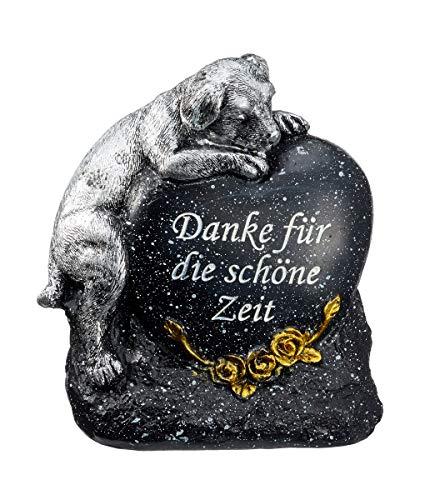 Grabdeko Hund Herz Grabschmuck Anthrazit Silber
