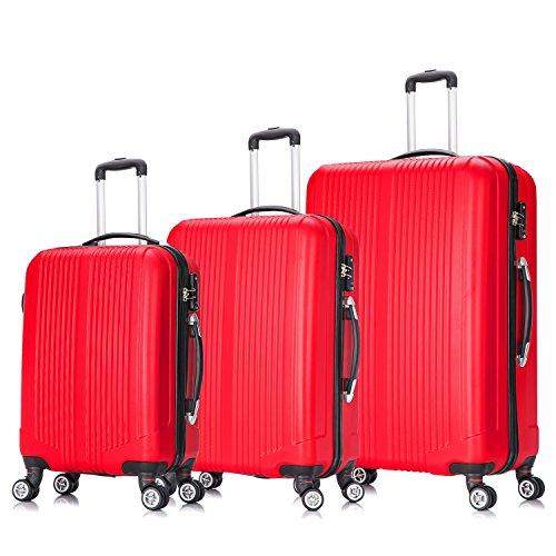 ROBBY–TROTTER Case rosso–set di 3Valigie con ruote rosse con TSA LOCK