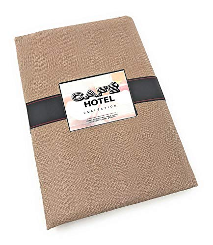 Cafe Hotel Linen Look Solid Color Heavy 4 Gauge Vinyl Flannel Backed Tablecloth, Indoor/Outdoor Wipe Clean Tablecloth, 60 Inch x 84 Inch Oval, Taupe