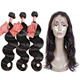 Moda Mode Hair Brazilian Body Wave Hair 360 Lace Frontal Closure With Virgin Hair Bundles, Unprocessed Human Hair Extensions (16 18 20+14inch closure)