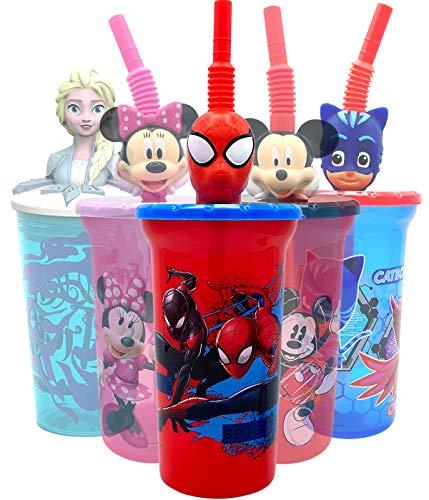 Vaso de agua de Marvel Super Hero Spiderman con cabeza de personaje 3D, botellas seguras sin BPA, fácil de limpiar, regalo perfecto para niños y niñas pequeños para artículos de viaje en el hogar