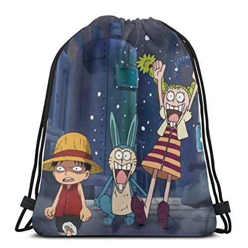 Anime One PIECE Monkey D. Luffy - Bolsa de gimnasio con cordón y bolsa de deporte para escuela, gimnasio, viajes, niño y niña, 14.2 x 16.9 pulgadas