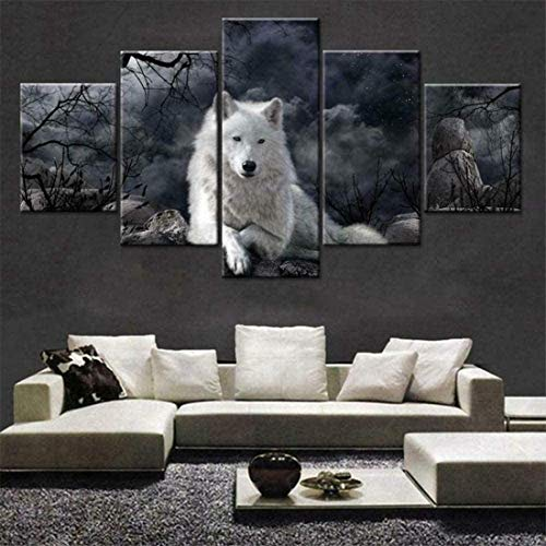 Póster de decoración de arte de pared HD en lienzo Imágenes impresas 5 piezas - Negro & Lobo blanco Animal - Cuadro enmarcado para la decoración del hogar Arte de la sala de estar 60 × 32 p