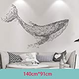 Yubing Wandaufkleber 3D Stereo PVC Wasserdicht Aufkleber Geometric Whale Pattern Nordic Style -