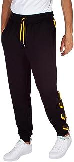 Pyrex Pantalone Uomo Nero in Felpa con Polsino e Bande Laterali con Logo