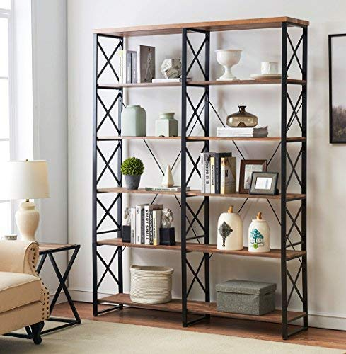 "O&K Furniture 80.7"" Double Wide 6-shelf Bookcase, Industrial Large Open Metal Bookcases Furniture, Etagere Bookshelf Home & Office, Vintage Brown"