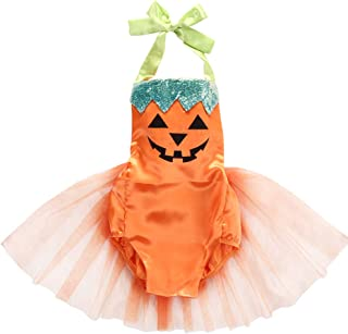 Baby Girls Christmas Tutu Dress Halter Pumpkin Floral Romper Jumpsuit Xmas Outfits