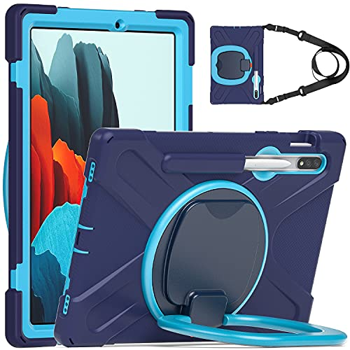 BlinkCat iPad Case for Samsung Galaxy Tab S7 Plus 12.4' 2020, Full Body Rugged Drop Protection Hybrid Shockproof Protective with 360 Rotating Grip Stand / Shoulder Strap / Pencil Holder- NavyBlue+Blue