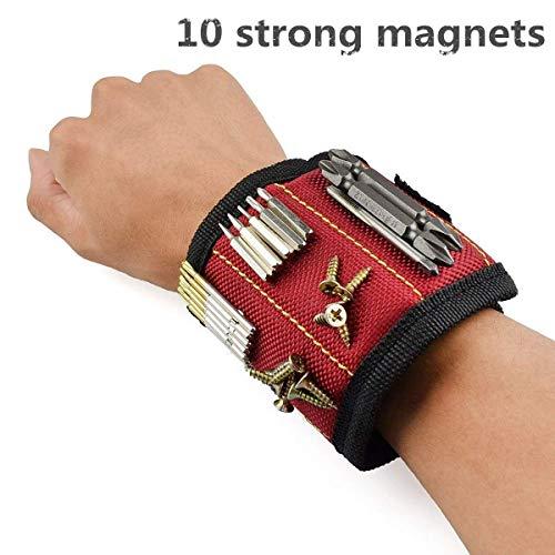Magnetische Armbänder, Laufen Magnetische Armbänder mit 10 kraftvollen Magneten, Magnetarmband Werkzeug zum Halten von Werkzeug, Schrauben, Bohrer und Nägel, Werkzeug Geschenk für Männer
