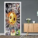 自己粘着性の3Dドア壁画ピールアンドスティック装飾ステッカーワールドカップフットボール用リビングルーム寝室DIYPVC防水壁紙リムーバブルアートポスター30.3X78.7(77X200Cm)