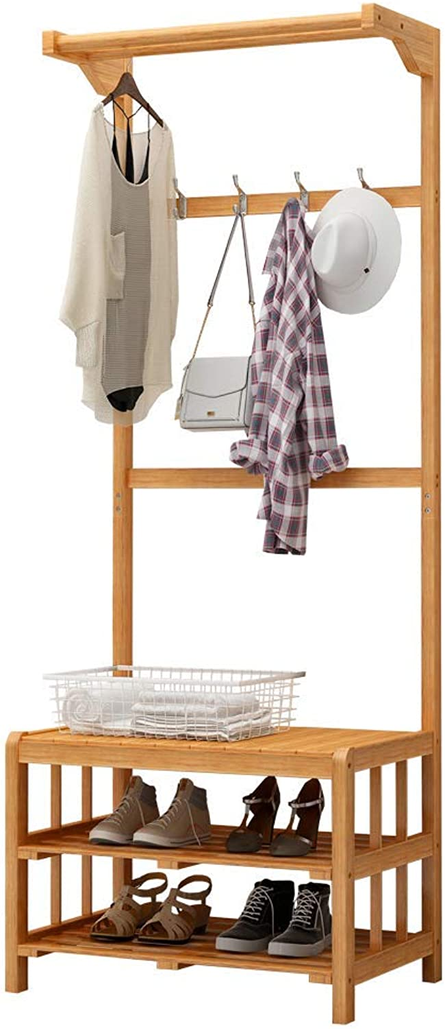 DYR 3-in-1 Clothes Rack shoes Rack shoes-Changing Unit Bamboo-Shaped Multi-Function Coat Hooks 2 Storage Shelf (Dimensions  60  35  168cm)