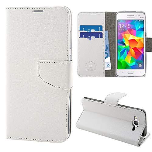 N NEWTOP Cover Compatibile per Samsung Galaxy Grand Prime G530, HQ Lateral Custodia Libro Flip Chiusura Magnetica Portafoglio Simil Pelle Stand (Bianca)
